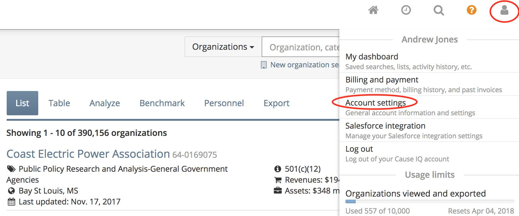 """Access your """"Account settings"""" page"""