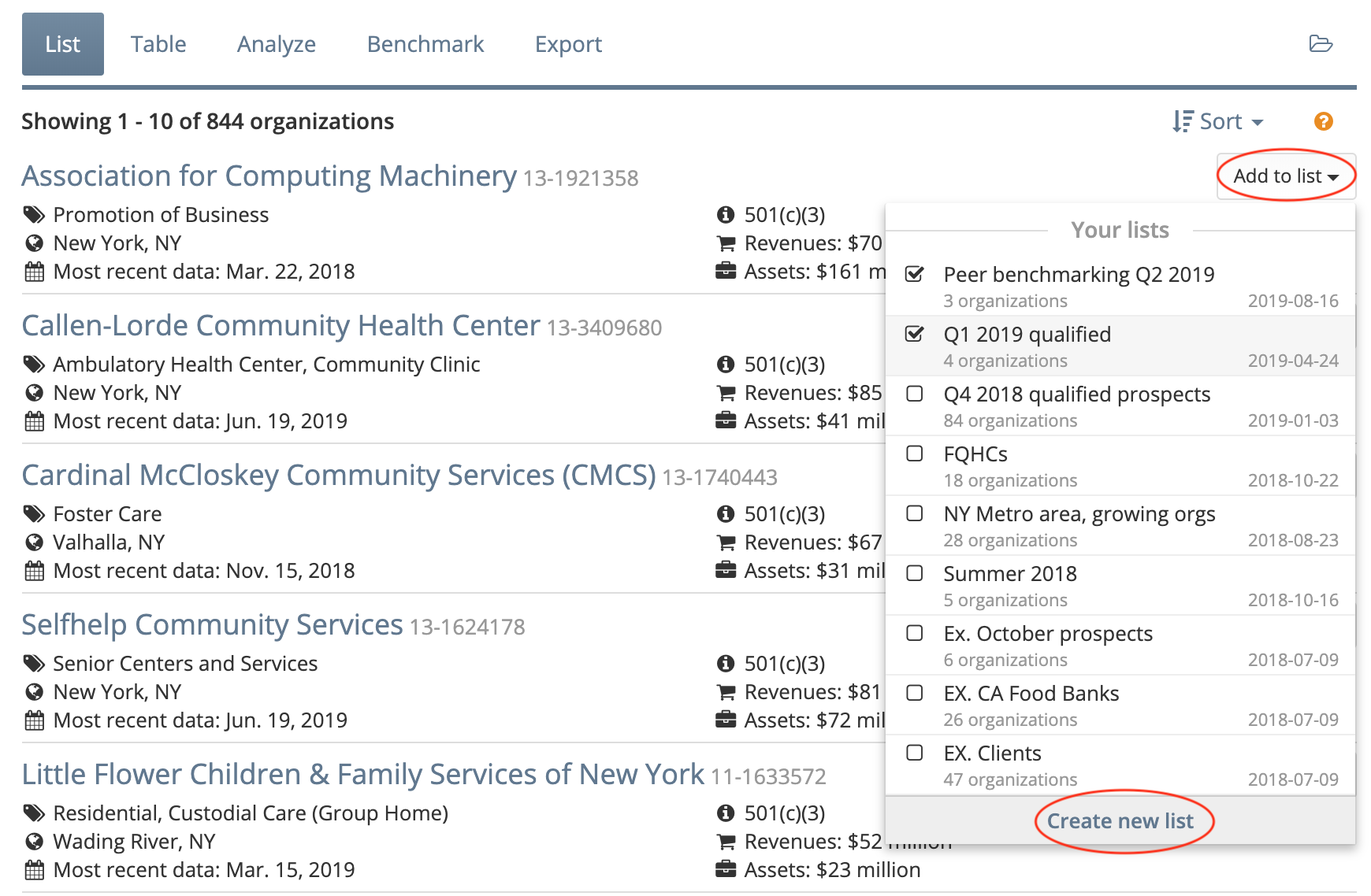 """Add organizations to a list from the """"List"""" view"""