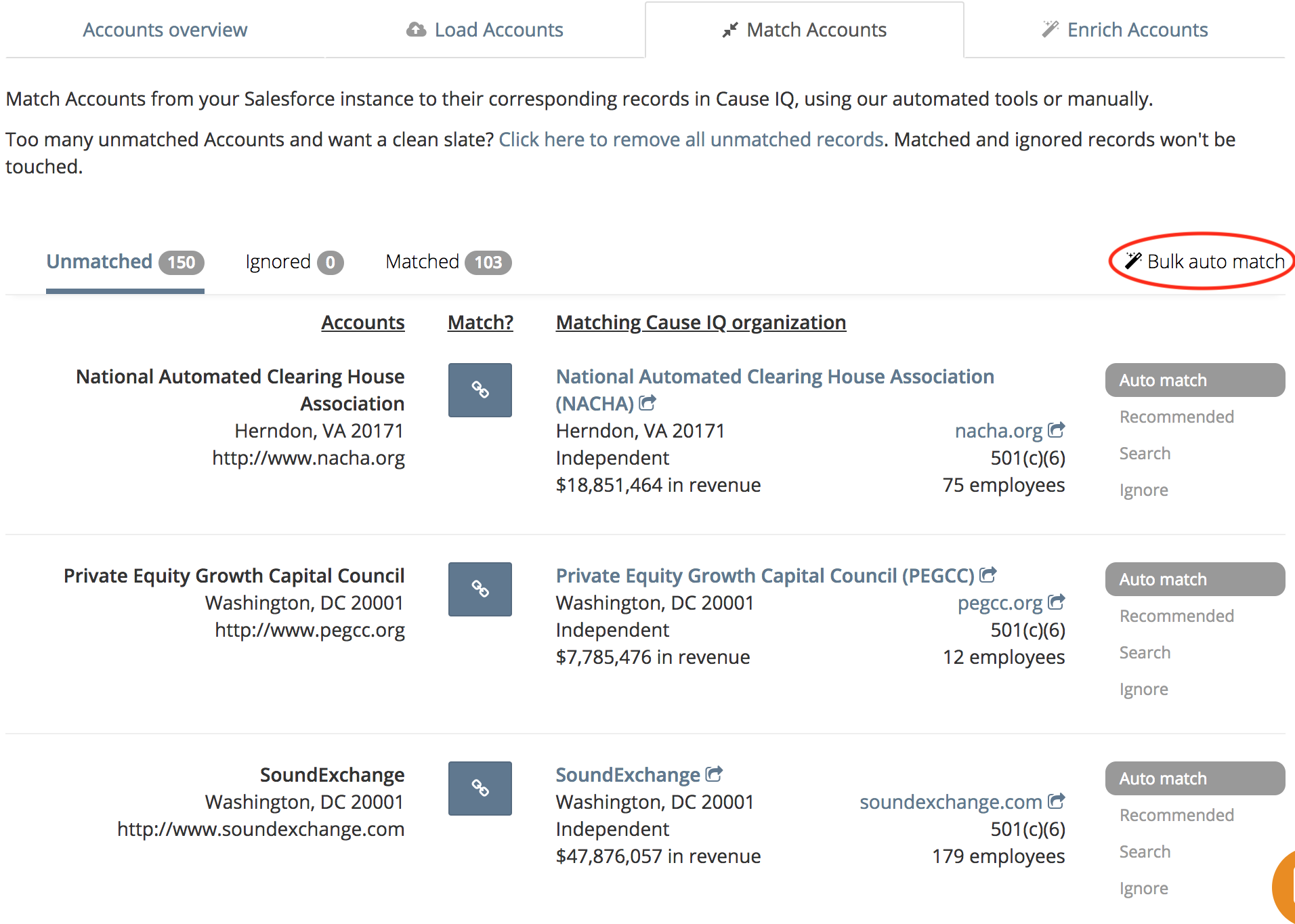 Match your Salesforce records to the corresponding organizations in Cause IQ