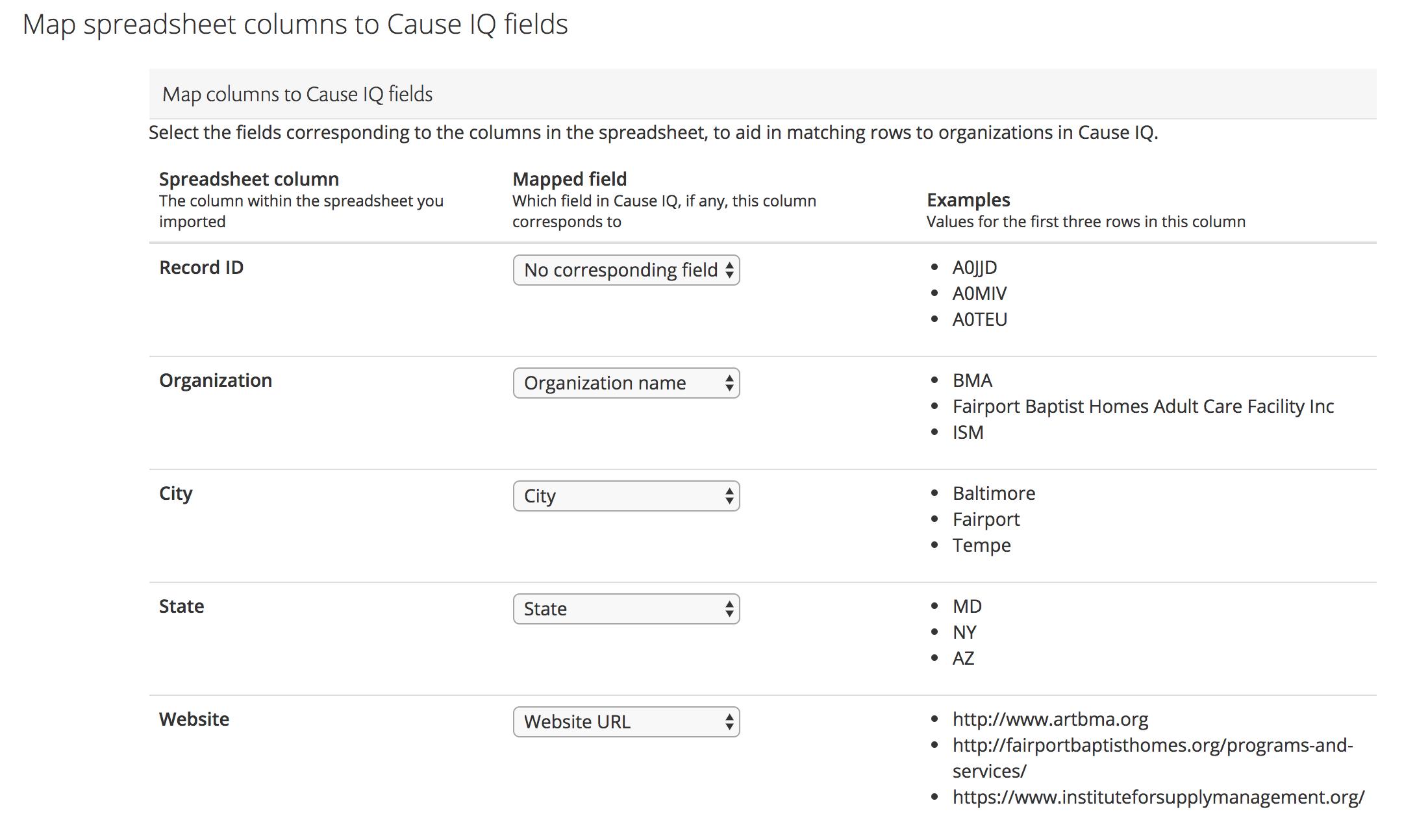 Map spreadsheet columns to Cause IQ fields