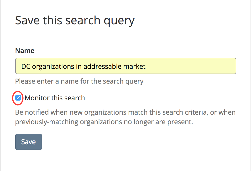 Naming and monitoring your searches