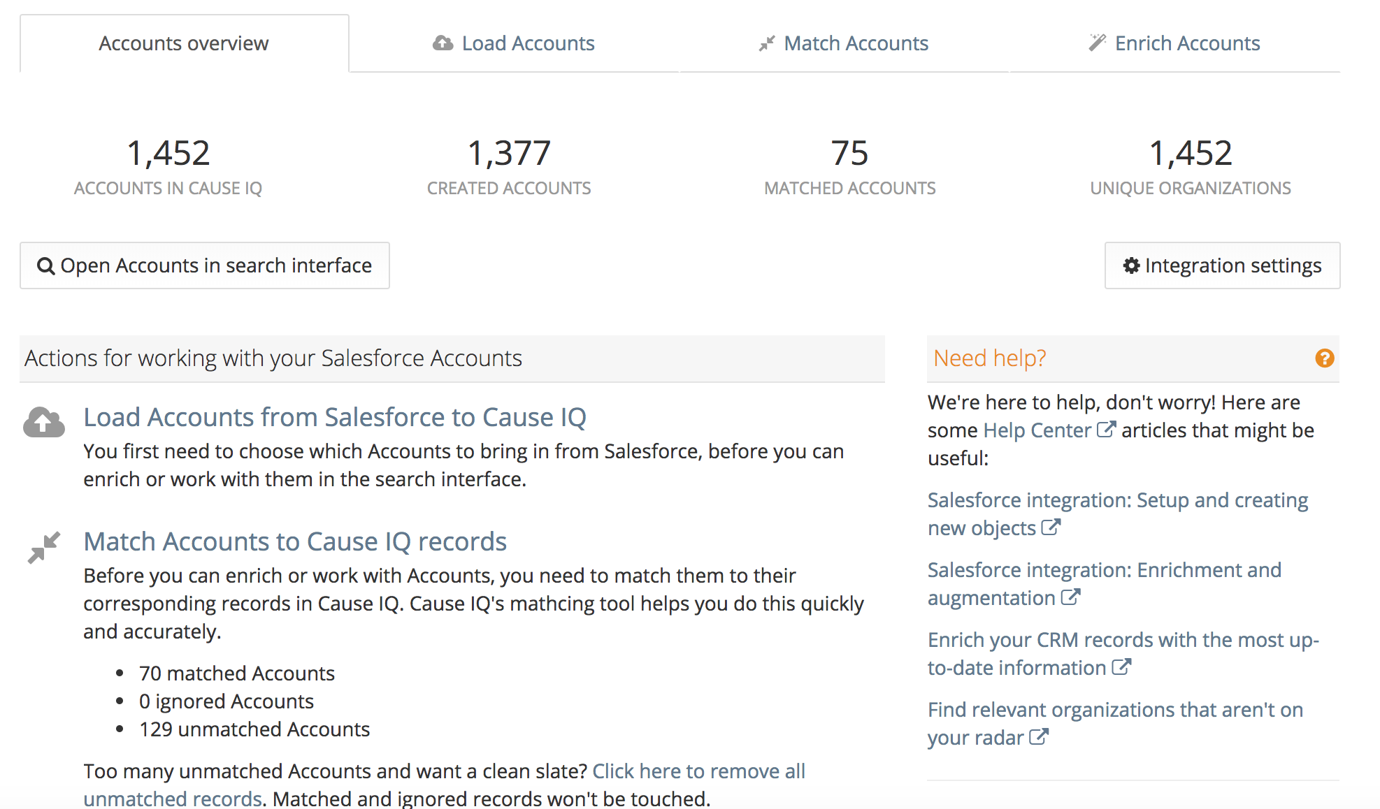 Salesforce section of the Dashboard