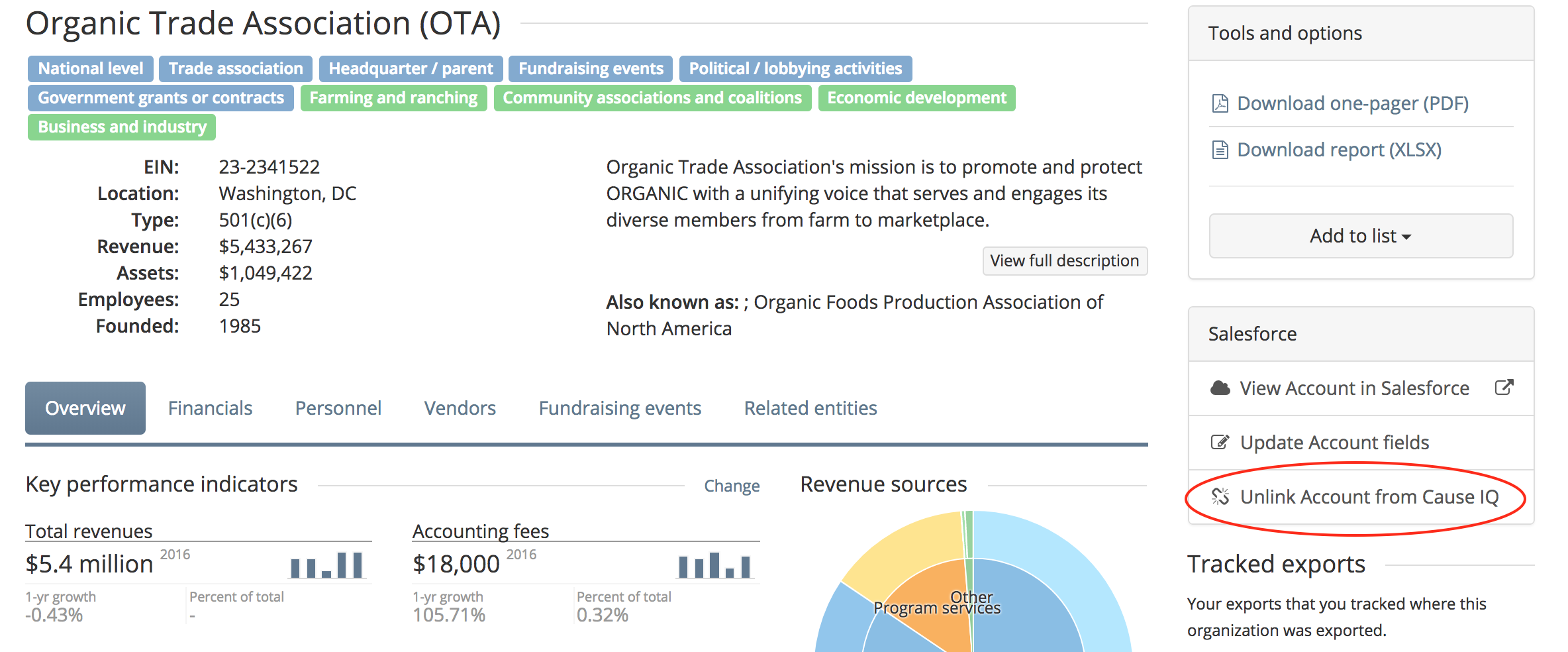 Unlink organizations from Salesforce records