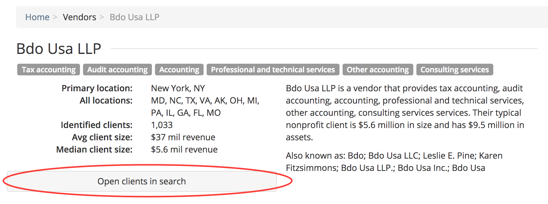 Open a client list of vendors in Cause IQ's search interface