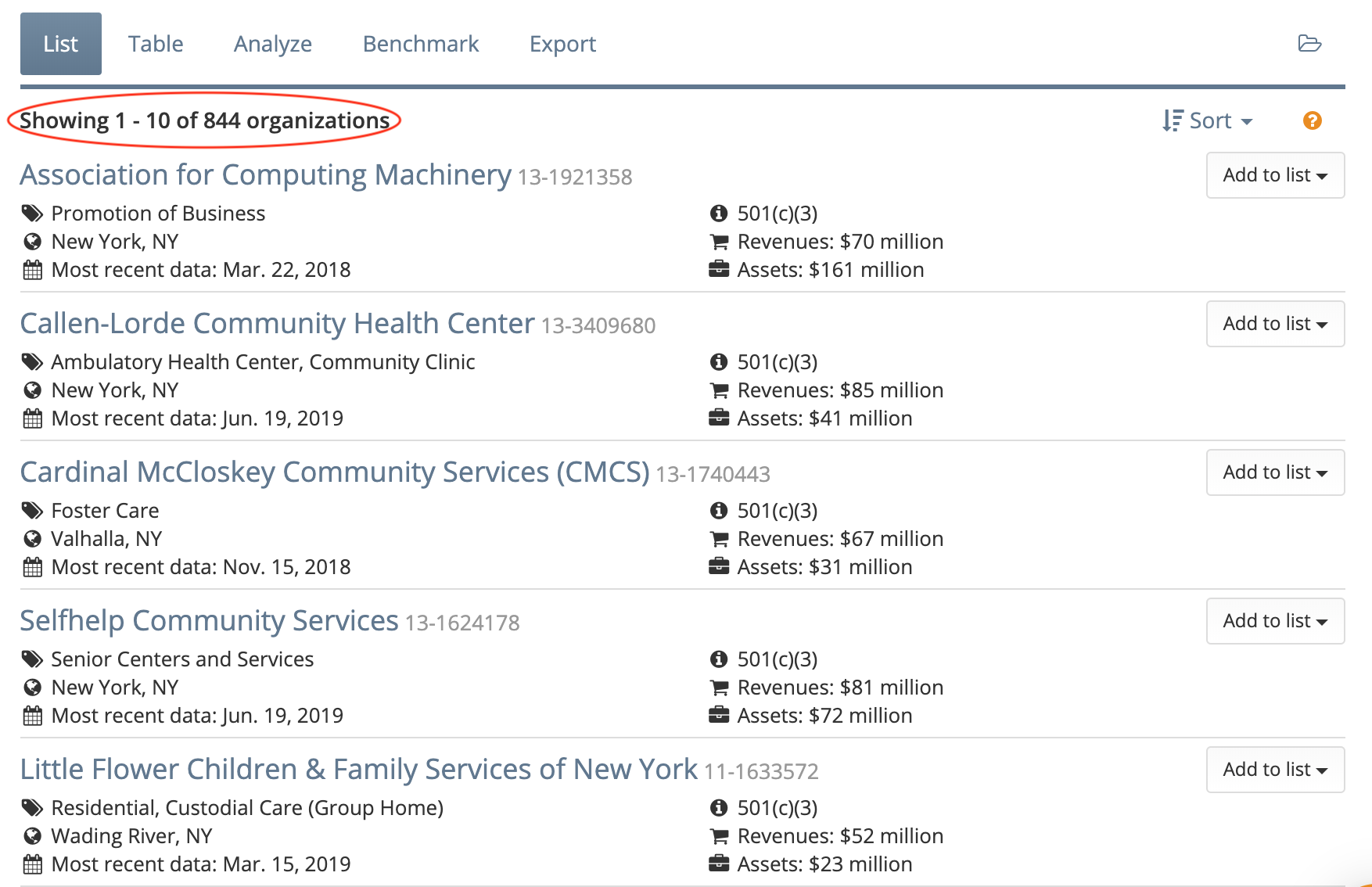 See how many organizations meet your search query