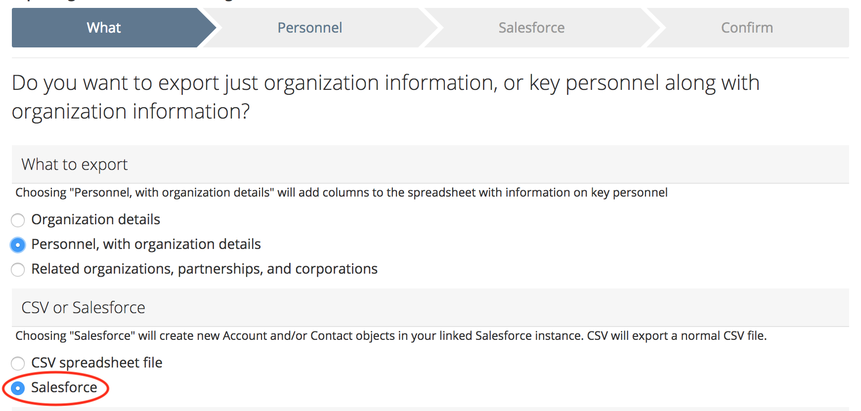 Select to Export directly to Salesforce