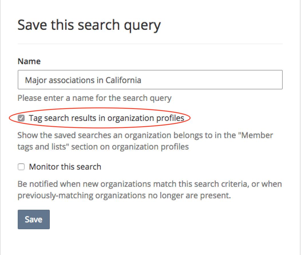 Tag search results in organization profiles