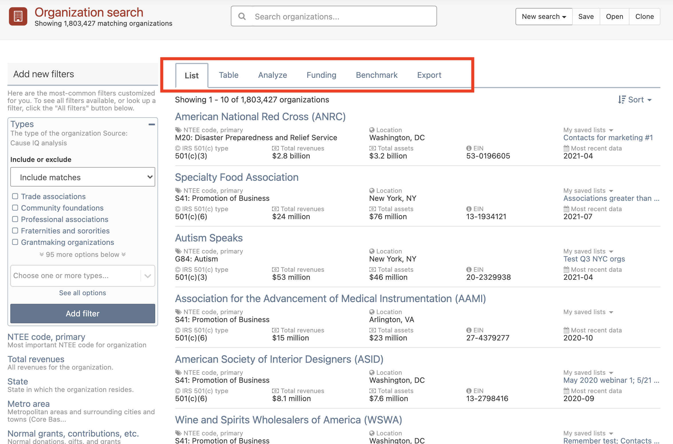 Tools and features in search interface