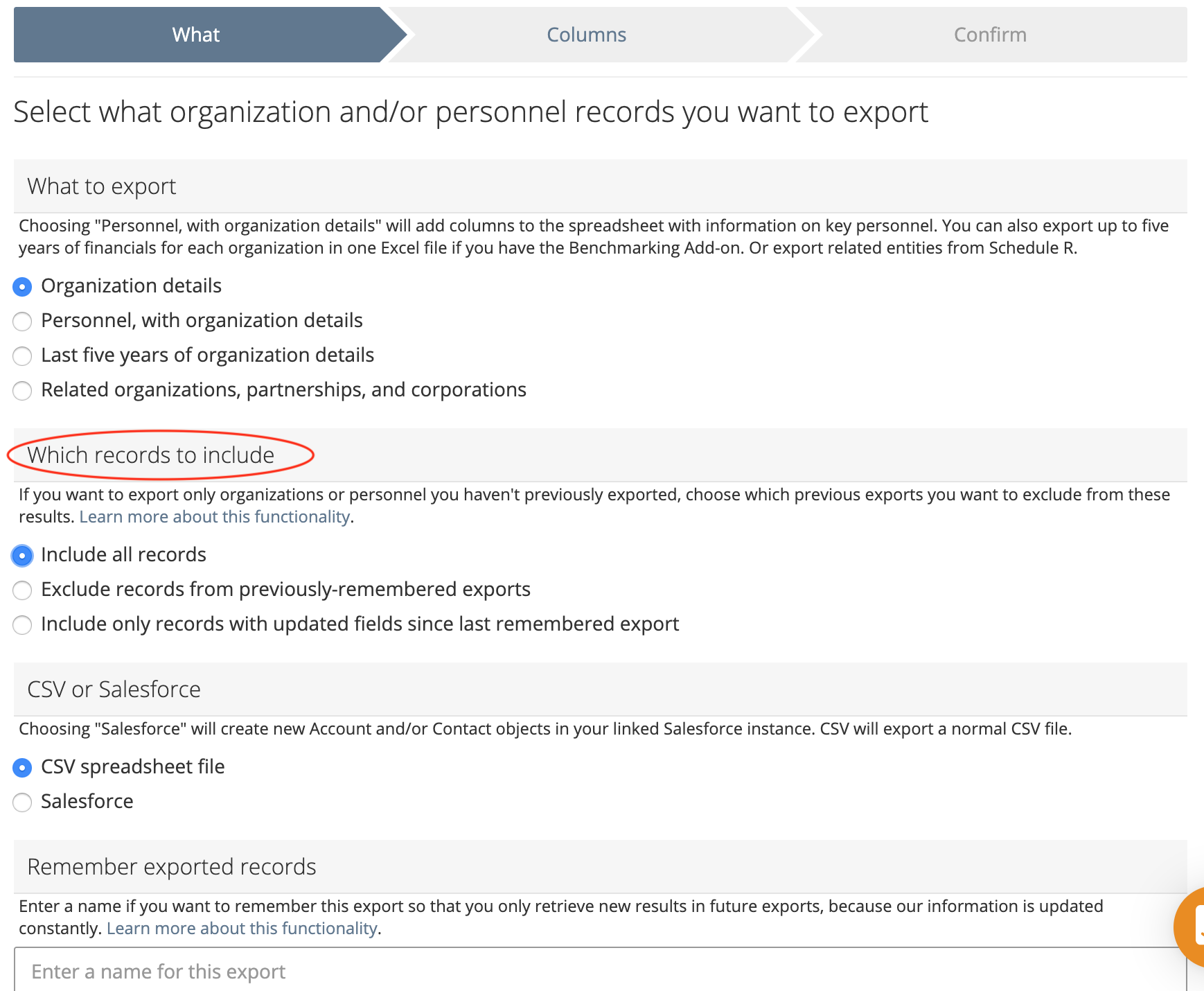 Select which records to include an export