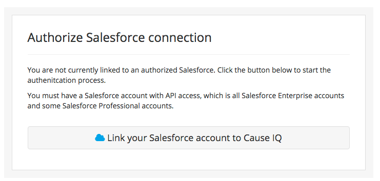 Authorizing your Salesforce account to talk to Cause IQ