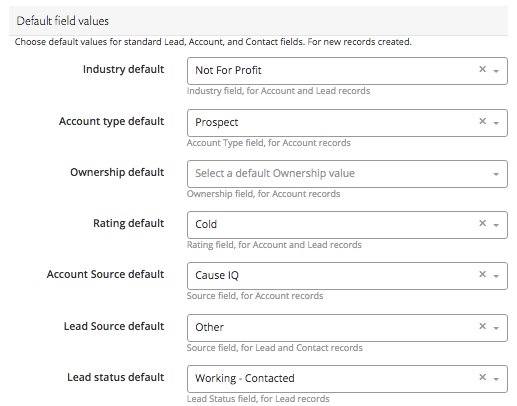 Default field values to map