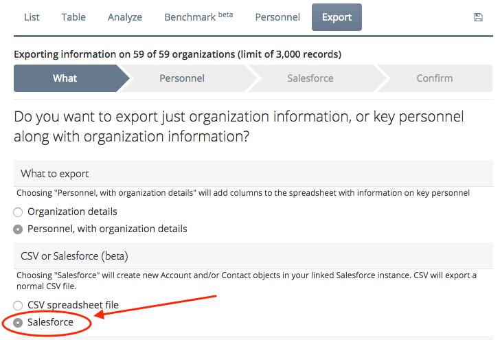 Salesforce export wizard what step