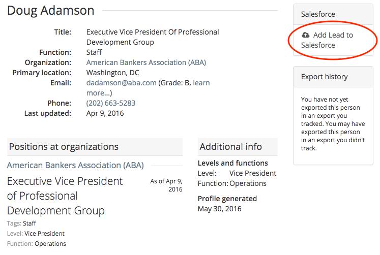 Salesforce person profile create lead